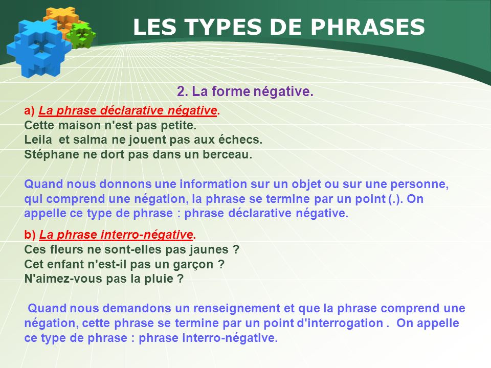 LES TYPES DE PHRASES 2. La forme négative.