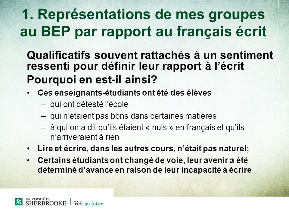1. Représentations de mes groupes au BEP par rapport au français écrit