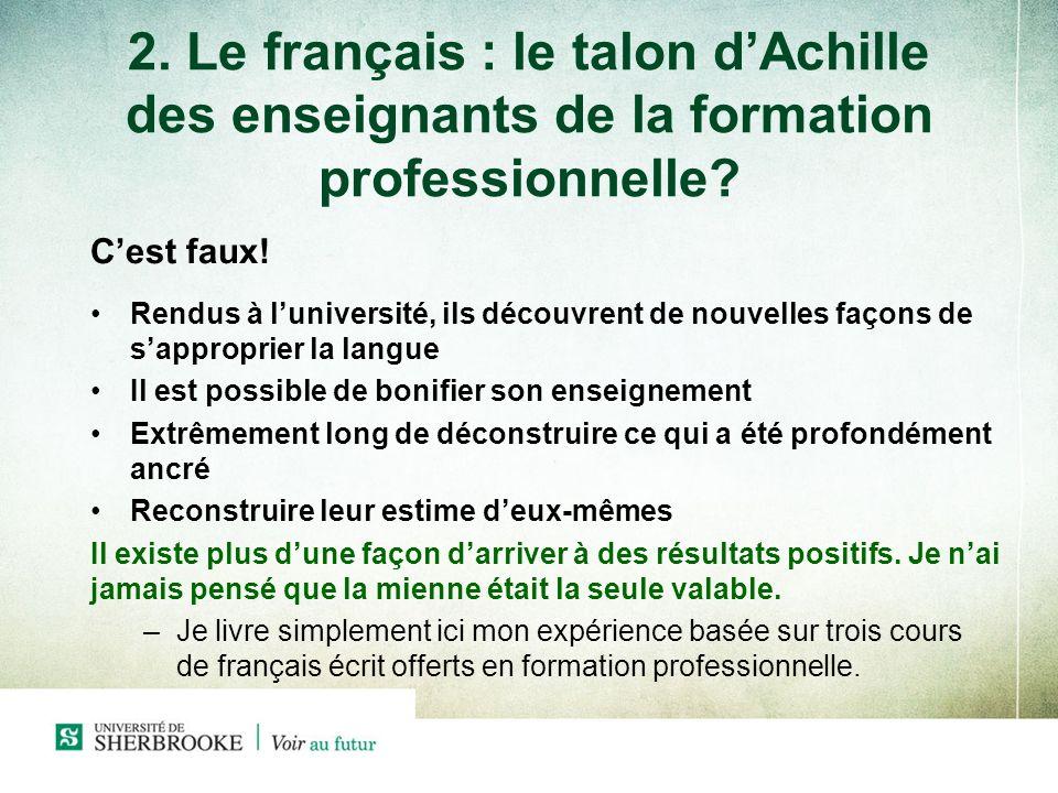 2. Le français : le talon d'Achille des enseignants de la formation professionnelle