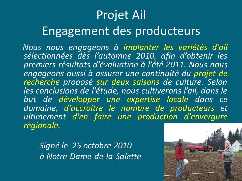 Projet Ail Engagement des producteurs