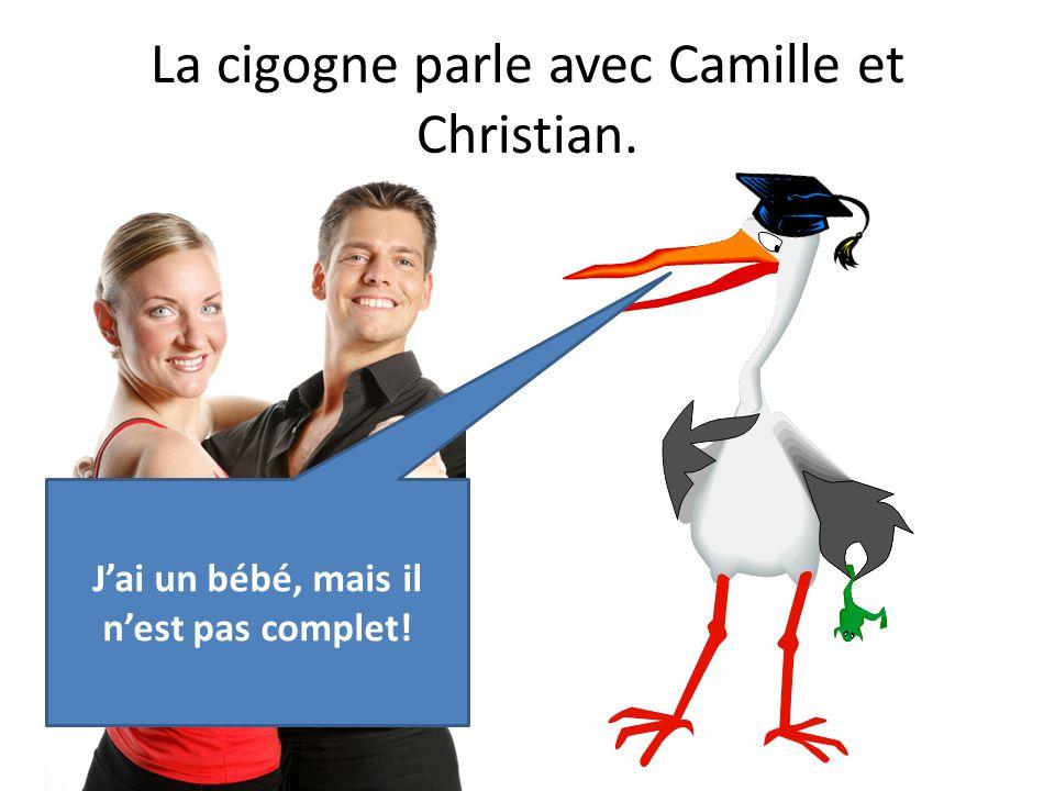 La cigogne parle avec Camille et Christian.