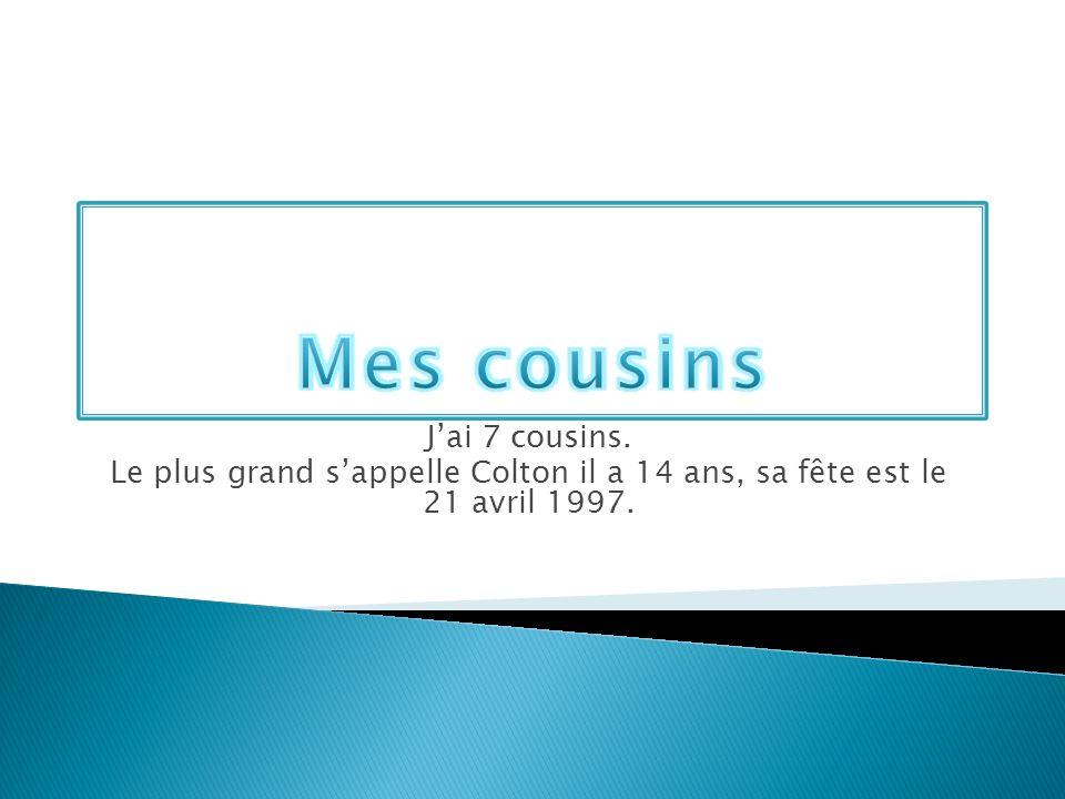 Mes cousins J'ai 7 cousins.