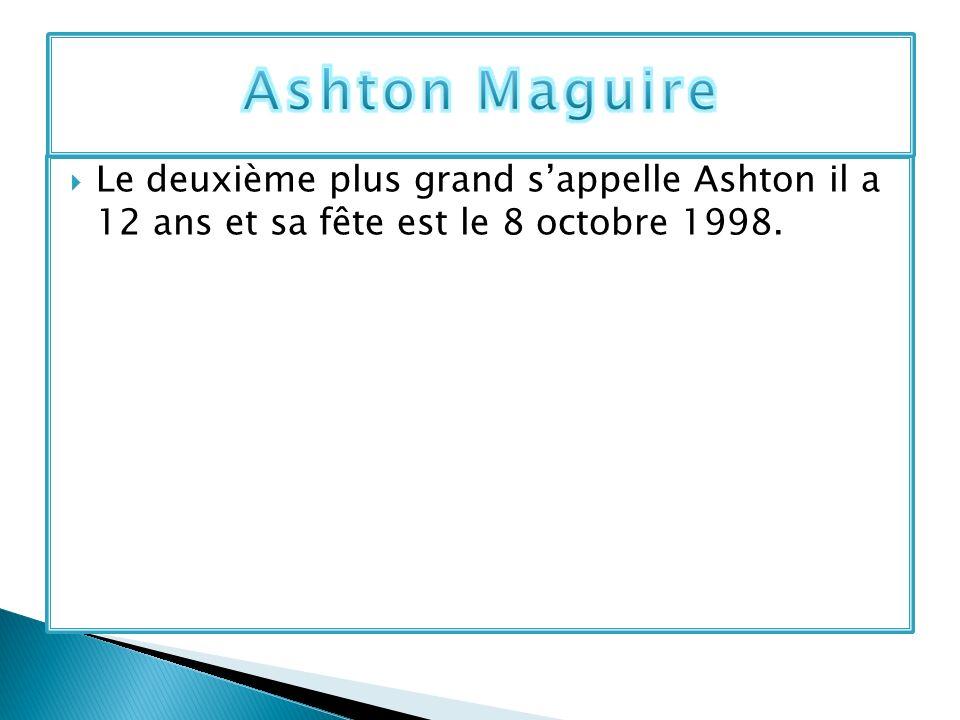 Ashton Maguire Le deuxième plus grand s'appelle Ashton il a 12 ans et sa fête est le 8 octobre 1998.