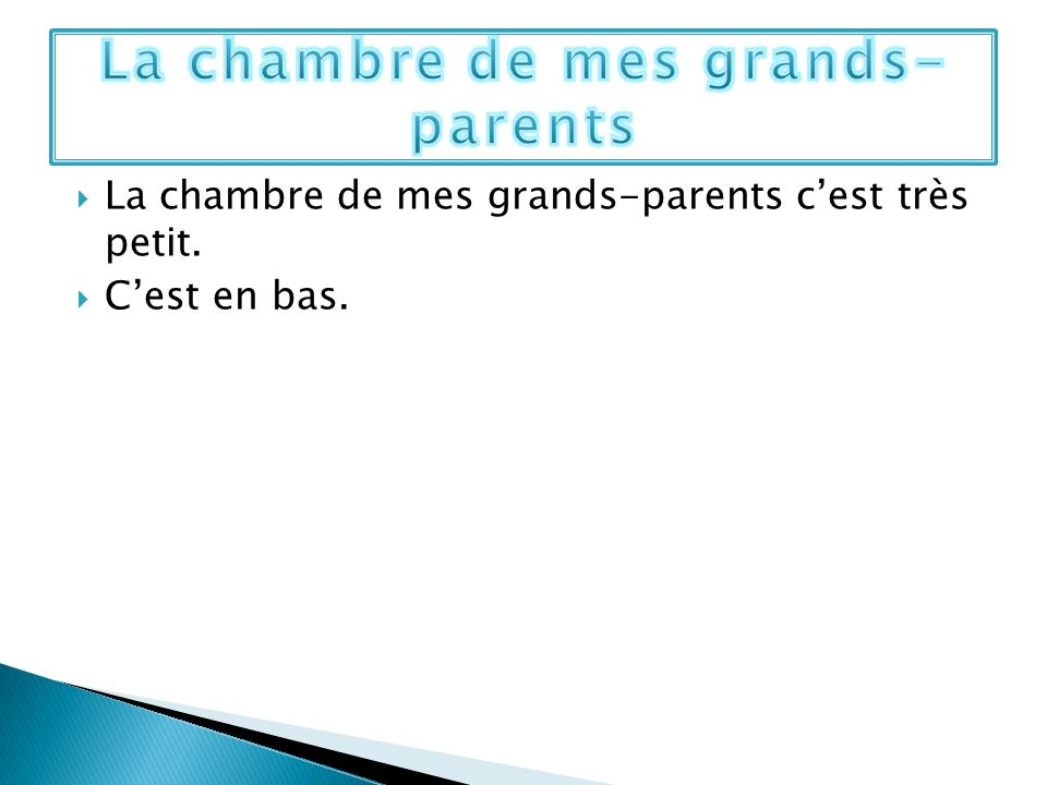 La chambre de mes grands-parents
