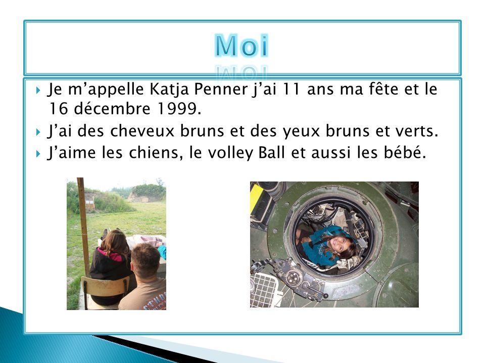 Moi Je m'appelle Katja Penner j'ai 11 ans ma fête et le 16 décembre 1999. J'ai des cheveux bruns et des yeux bruns et verts.