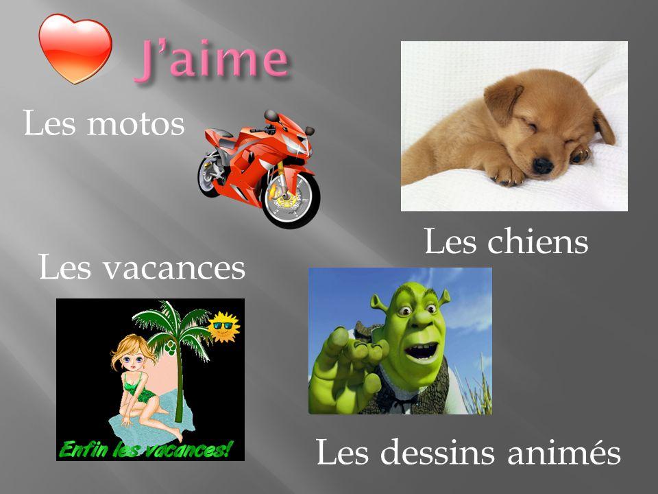 J'aime Les chiens Les motos Les vacances Les dessins animés