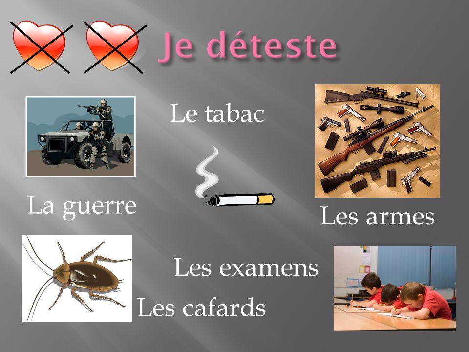 Je déteste Les armes La guerre Le tabac Les cafards Les examens