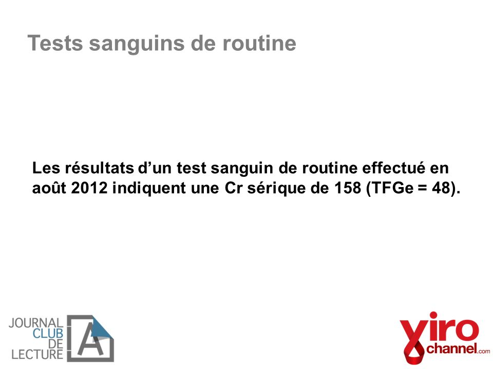 Tests sanguins de routine