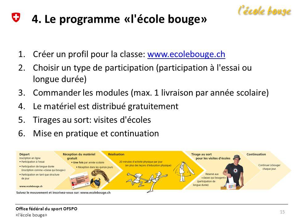 4. Le programme «l école bouge»