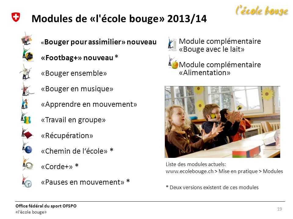Modules de «l école bouge» 2013/14