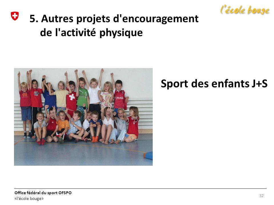 5. Autres projets d encouragement de l activité physique