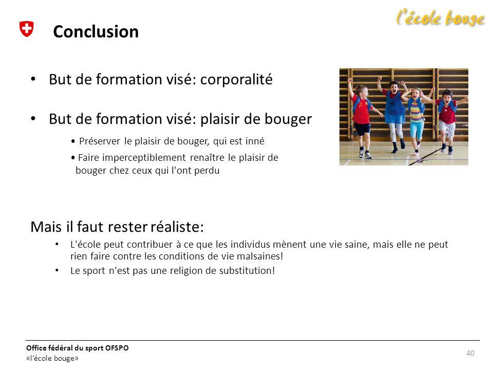 Conclusion But de formation visé: corporalité