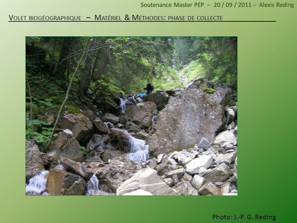 Volet biogéographique – Matériel & Méthodes: phase de collecte