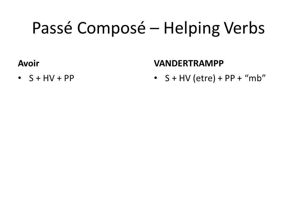 Passé Composé – Helping Verbs