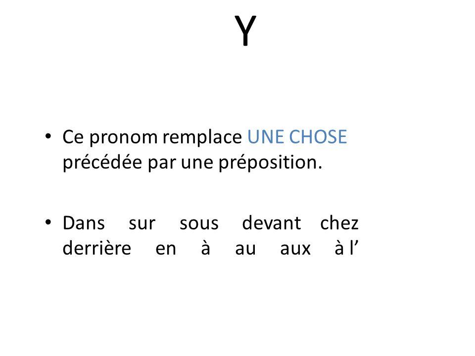 Y Ce pronom remplace UNE CHOSE précédée par une préposition.