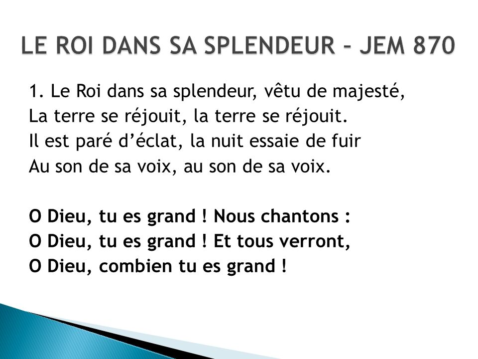 LE ROI DANS SA SPLENDEUR – JEM 870