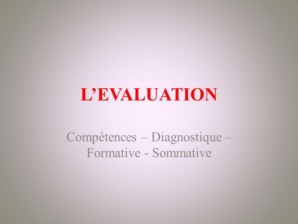 Compétences – Diagnostique – Formative - Sommative