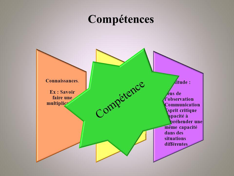 Compétences Compétence Connaissances.