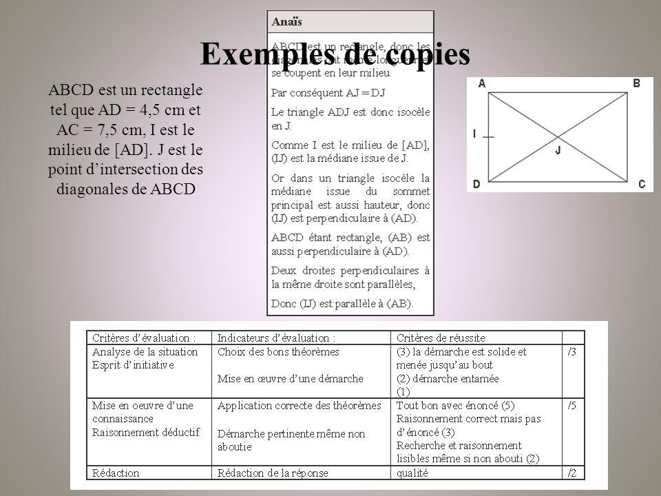 Exemples de copies