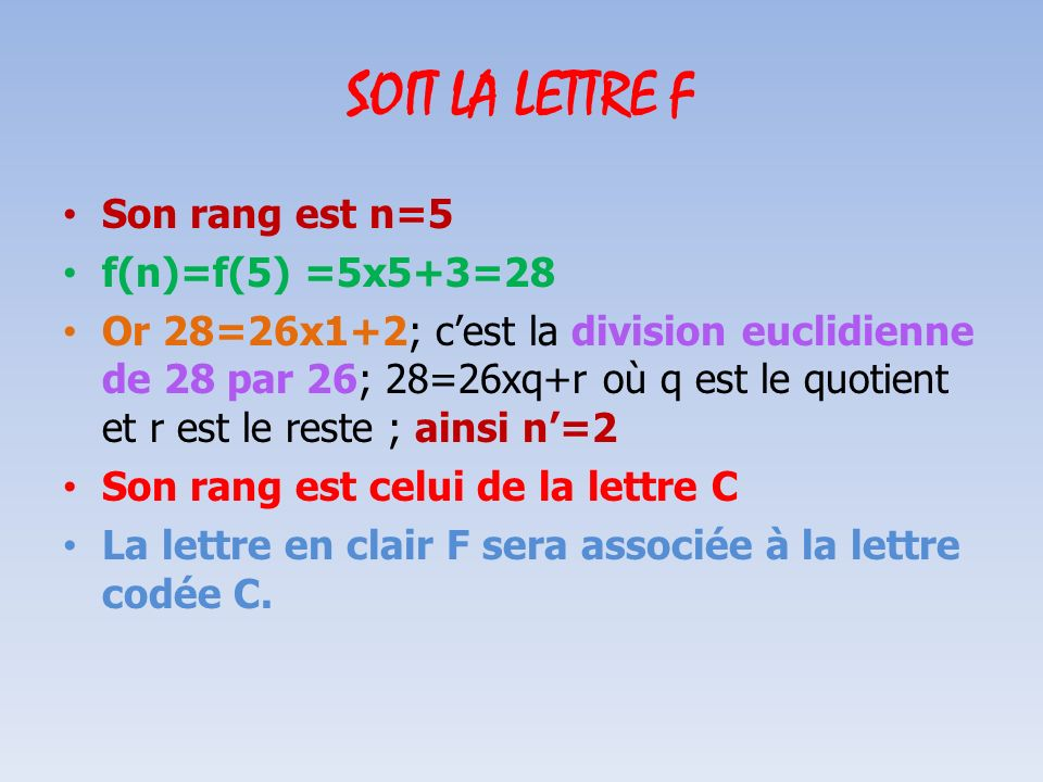 SOIT LA LETTRE F Son rang est n=5 f(n)=f(5) =5x5+3=28