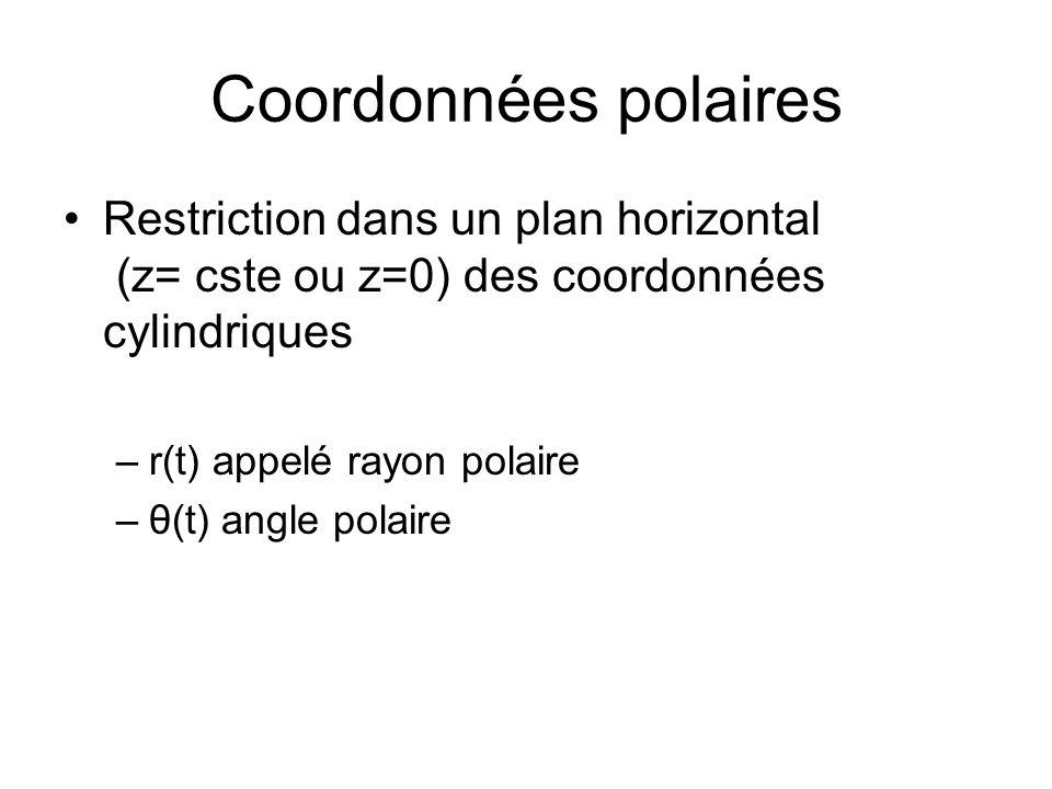 Coordonnées polaires Restriction dans un plan horizontal (z= cste ou z=0) des coordonnées cylindriques.