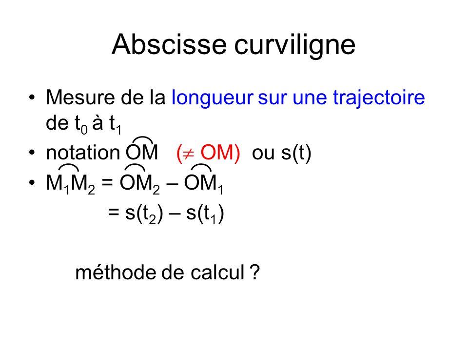 Abscisse curviligne Mesure de la longueur sur une trajectoire de t0 à t1. notation OM ( OM) ou s(t)