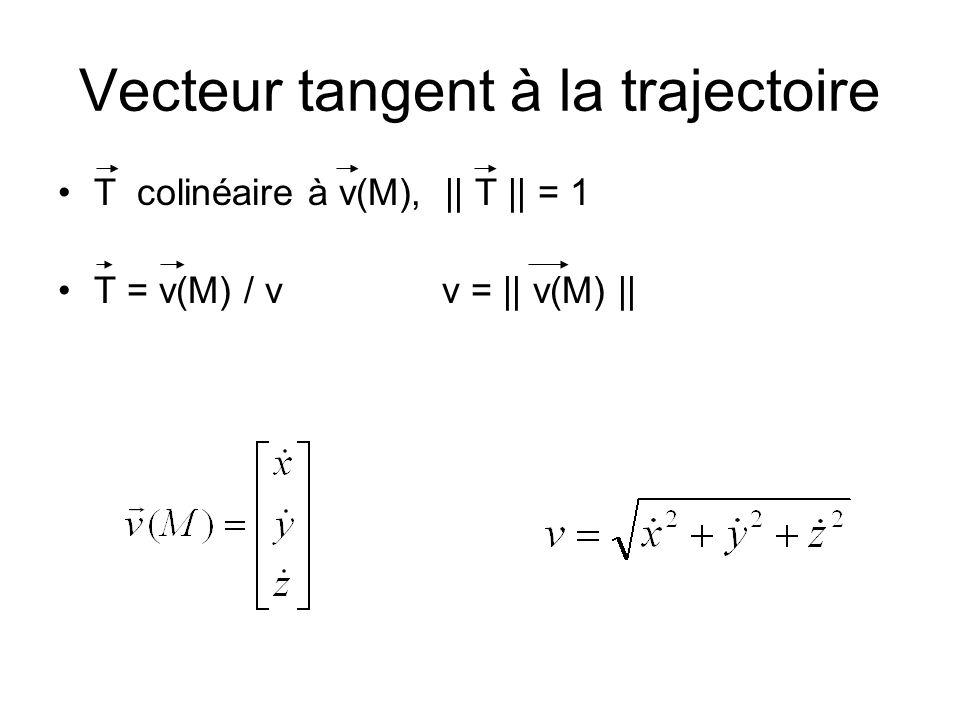 Vecteur tangent à la trajectoire