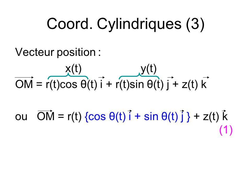 Coord. Cylindriques (3) Vecteur position : x(t) y(t)