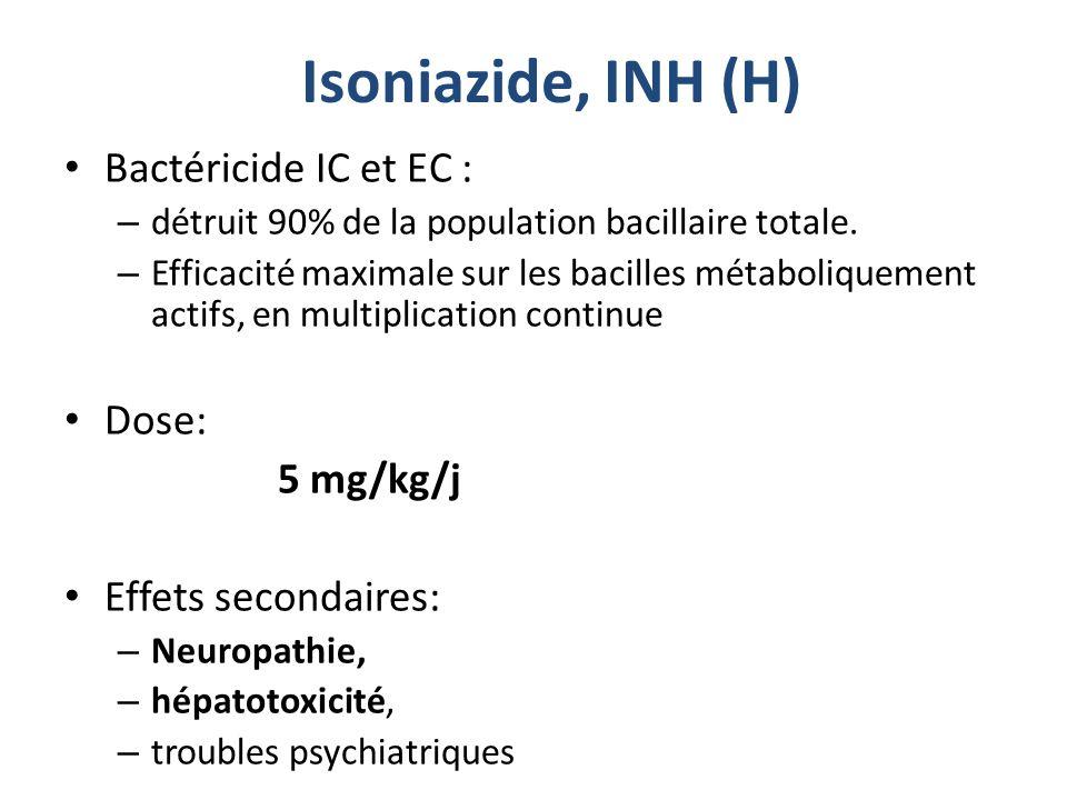 Isoniazide, INH (H) Bactéricide IC et EC : Dose: 5 mg/kg/j