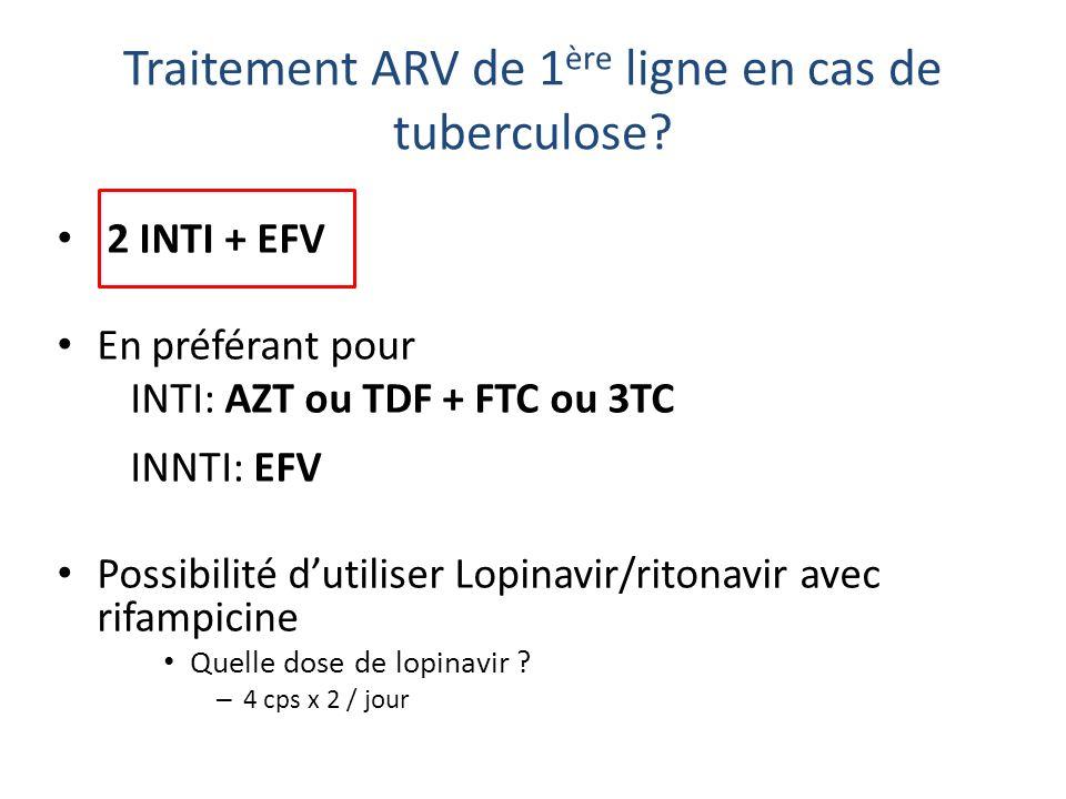 Traitement ARV de 1ère ligne en cas de tuberculose