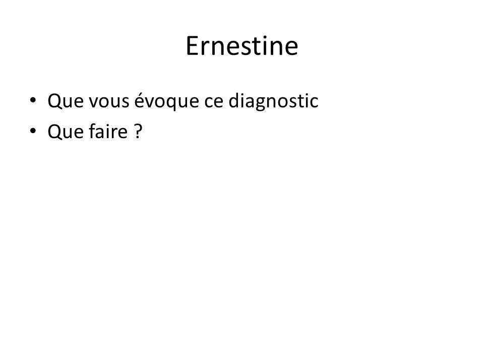 Ernestine Que vous évoque ce diagnostic Que faire