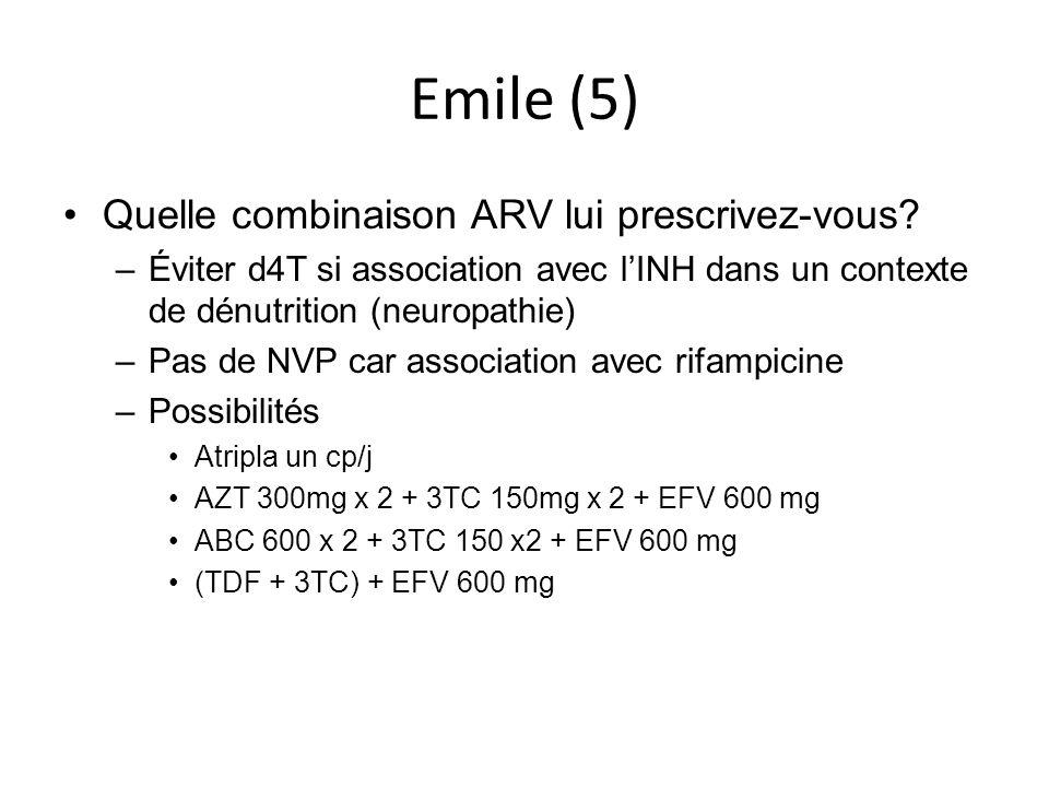 Emile (5) Quelle combinaison ARV lui prescrivez-vous