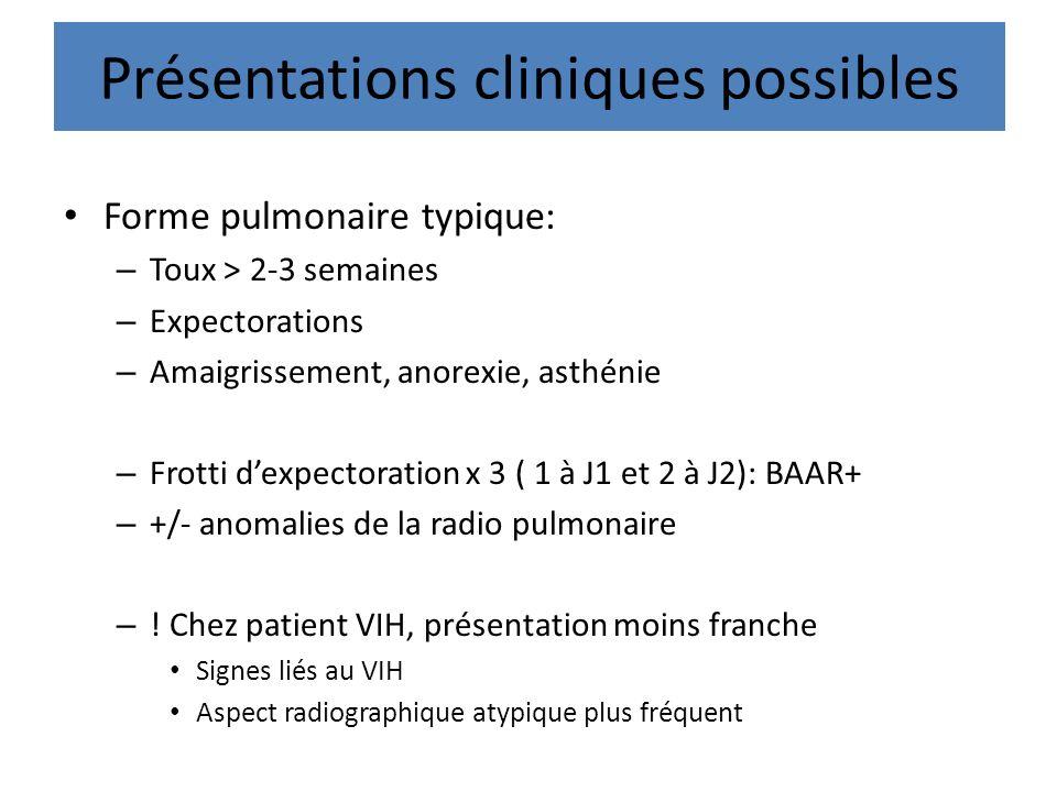 Présentations cliniques possibles
