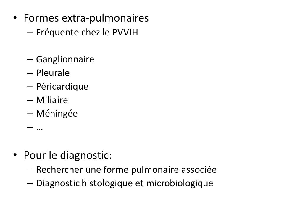 Formes extra-pulmonaires