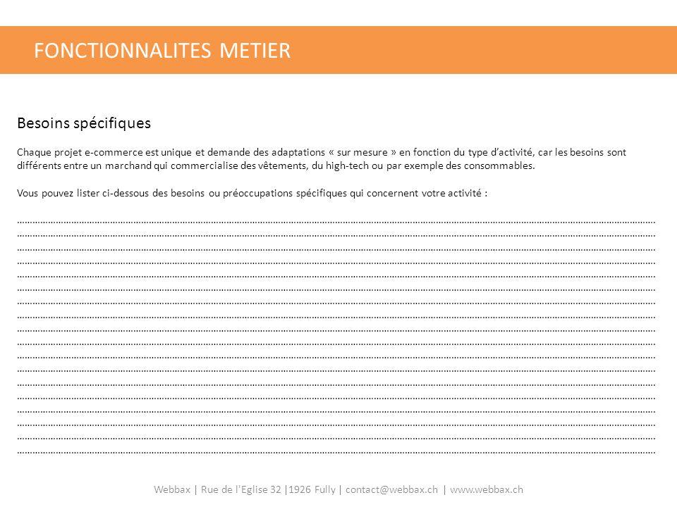 FONCTIONNALITES METIER