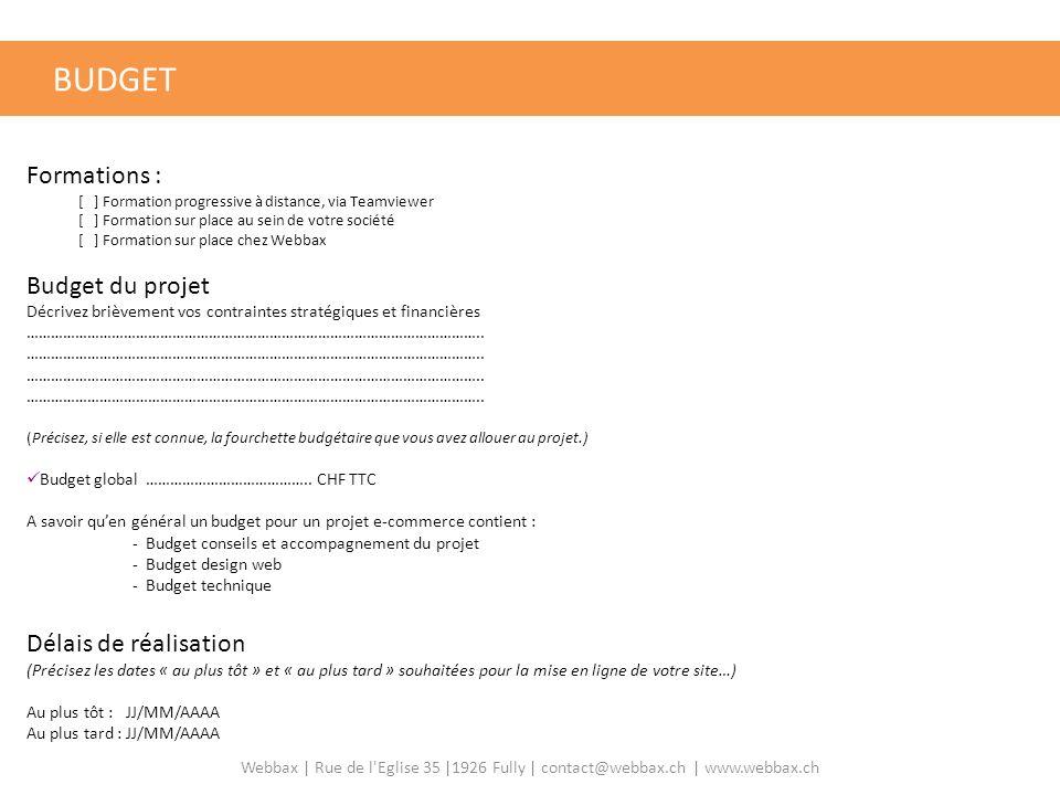 BUDGET VOTRE BUDGET Formations : Budget du projet