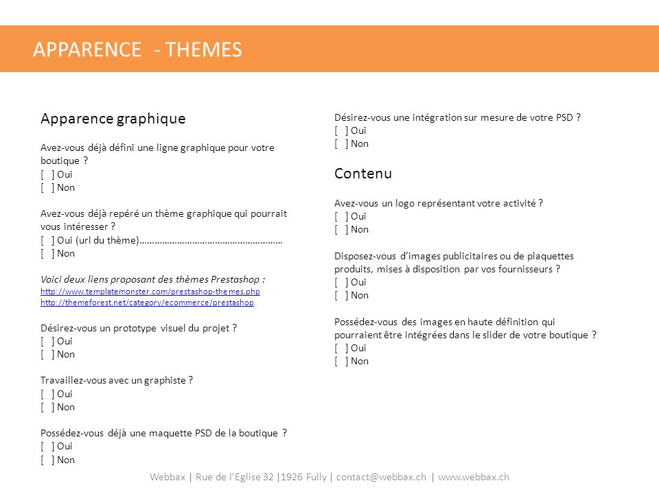 APPARENCE - THEMES Apparence graphique Contenu