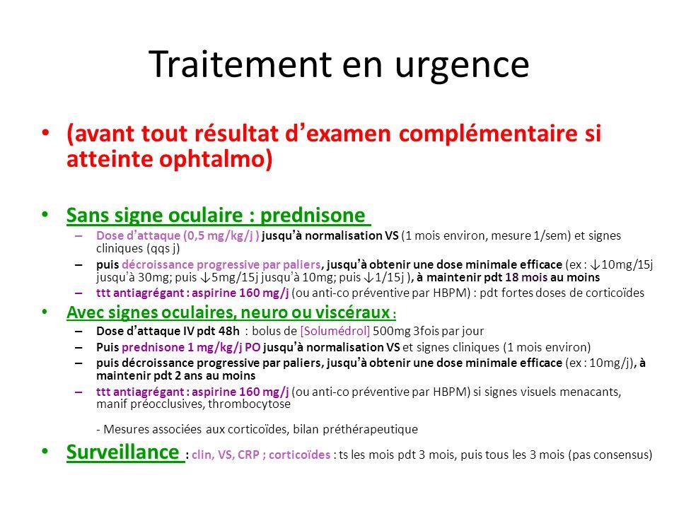 Traitement en urgence (avant tout résultat d'examen complémentaire si atteinte ophtalmo) Sans signe oculaire : prednisone
