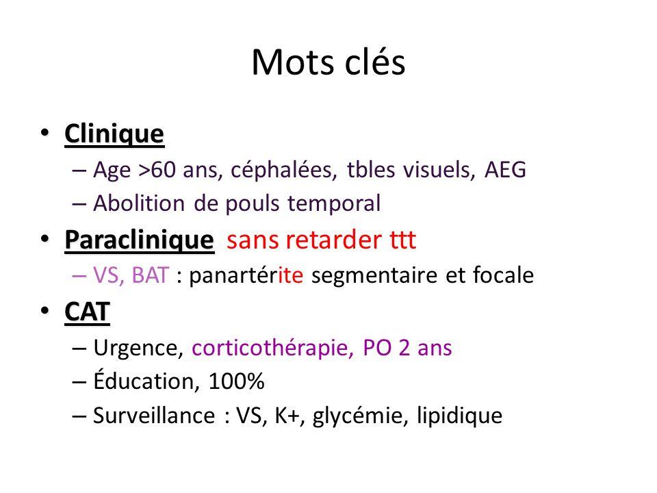 Mots clés Clinique Paraclinique sans retarder ttt CAT