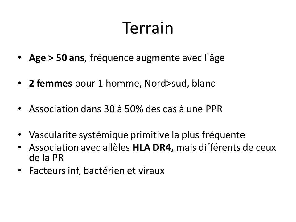Terrain Age > 50 ans, fréquence augmente avec l'âge