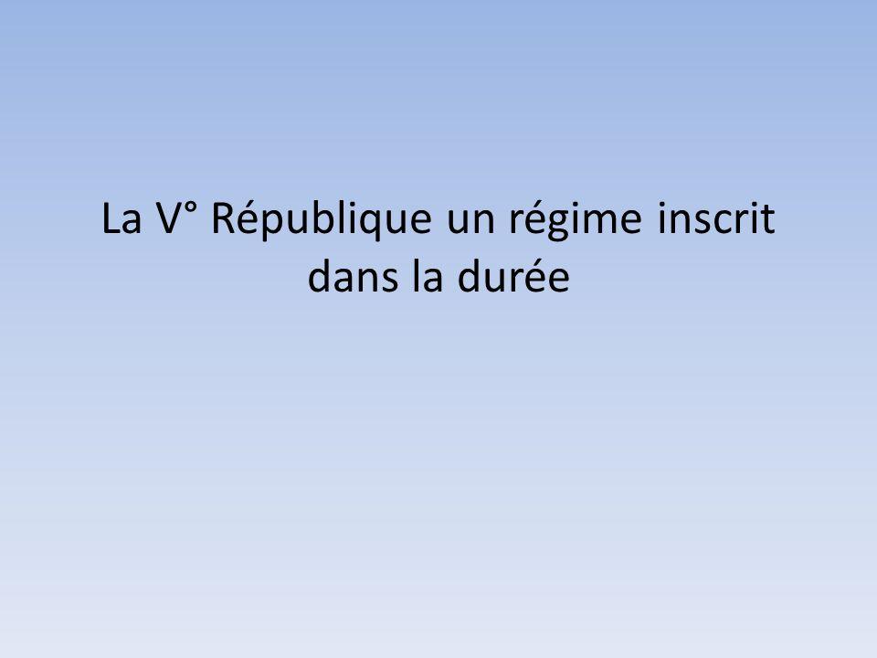 La V° République un régime inscrit dans la durée