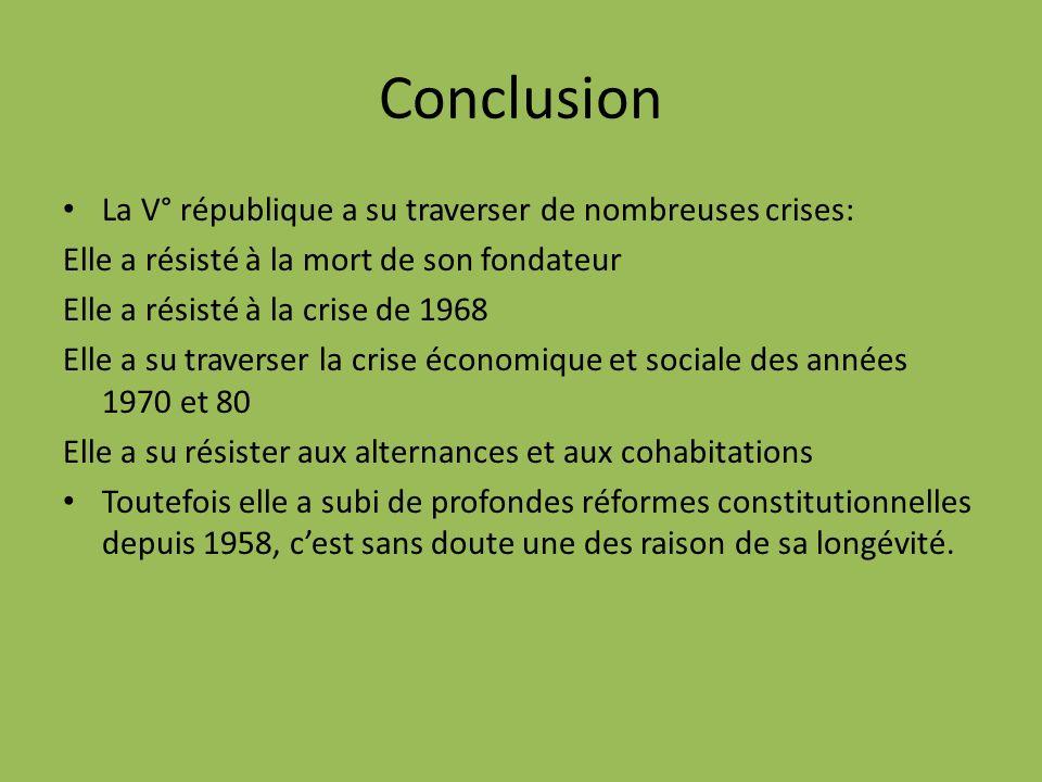 Conclusion La V° république a su traverser de nombreuses crises: