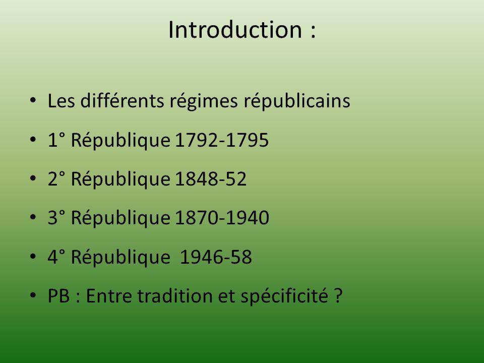 Introduction : Les différents régimes républicains