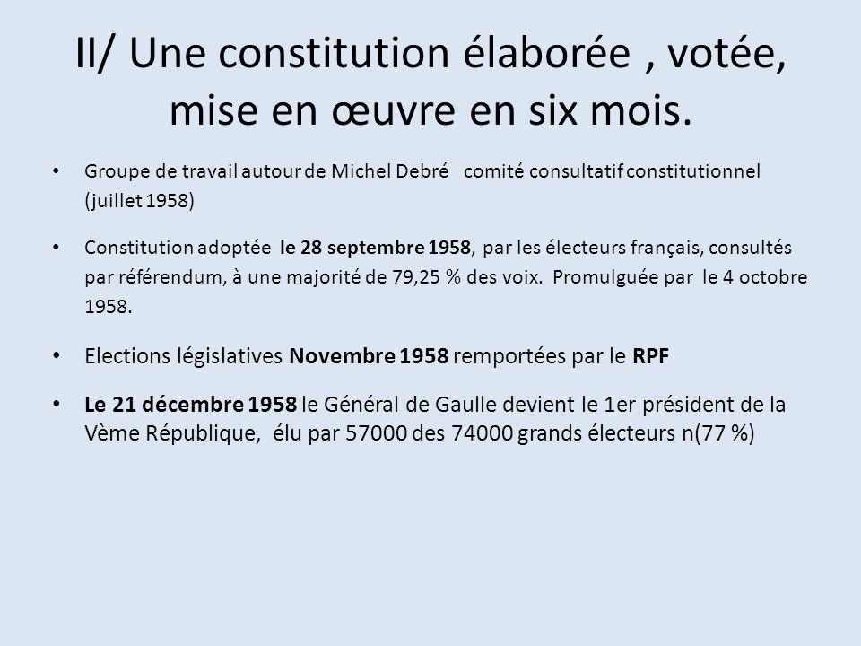 II/ Une constitution élaborée , votée, mise en œuvre en six mois.