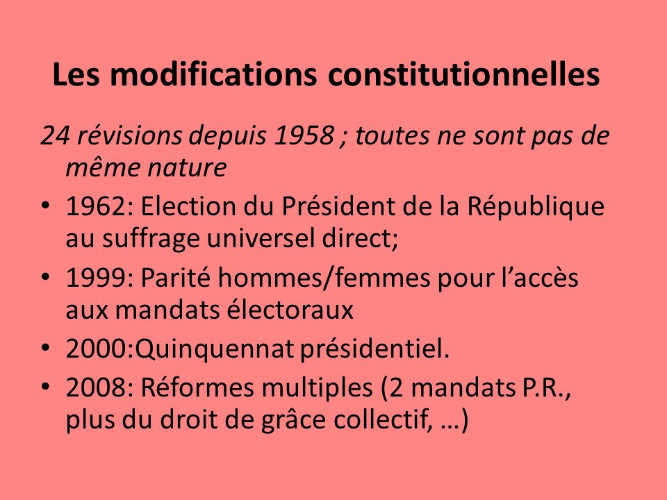 Les modifications constitutionnelles