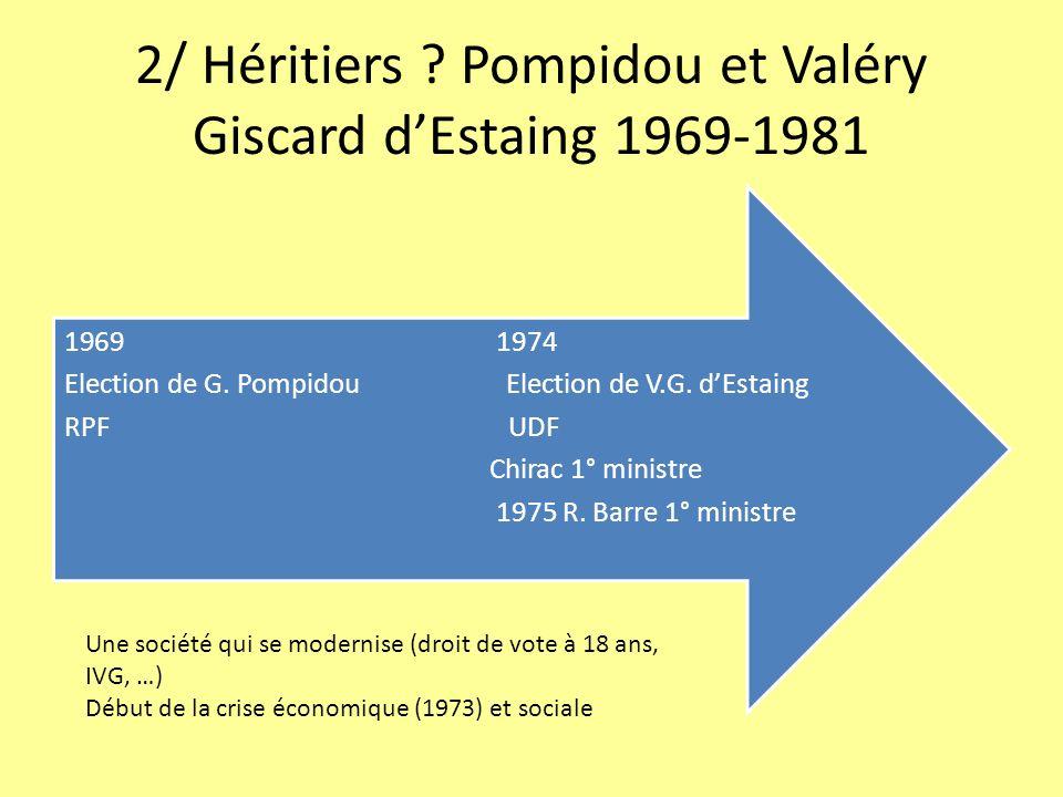 2/ Héritiers Pompidou et Valéry Giscard d'Estaing 1969-1981