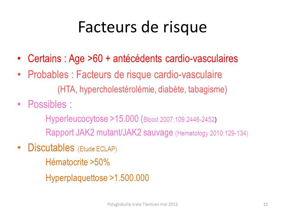 Facteurs de risque Certains : Age >60 + antécédents cardio-vasculaires. Probables : Facteurs de risque cardio-vasculaire.
