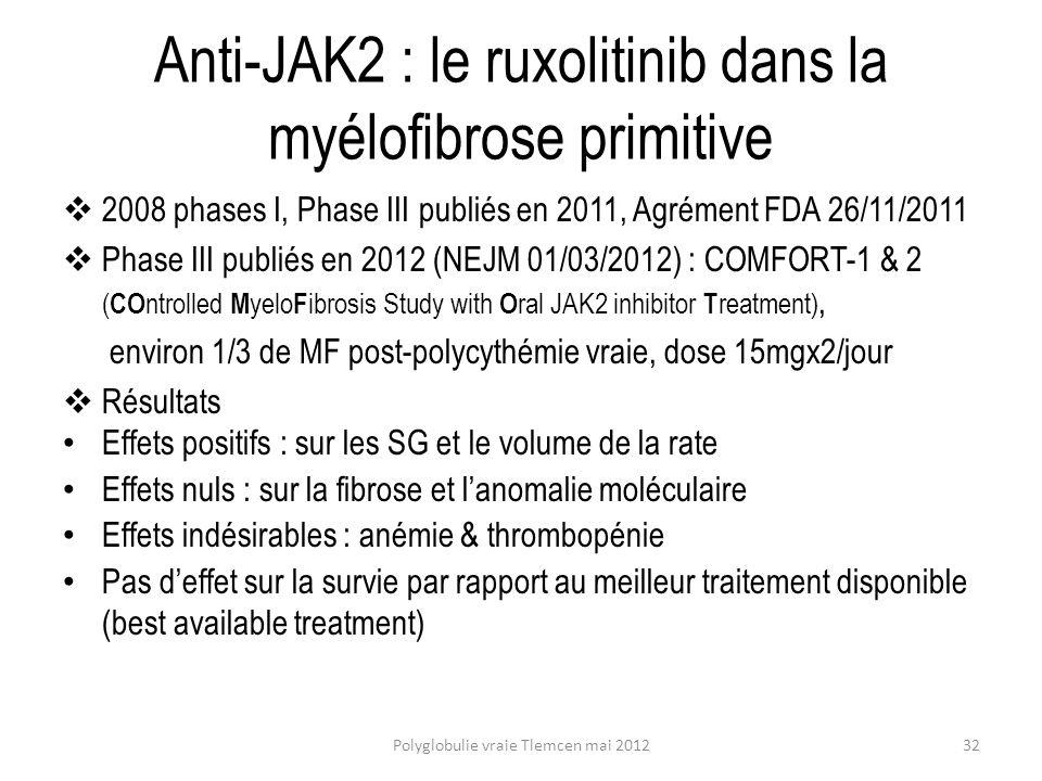 Anti-JAK2 : le ruxolitinib dans la myélofibrose primitive