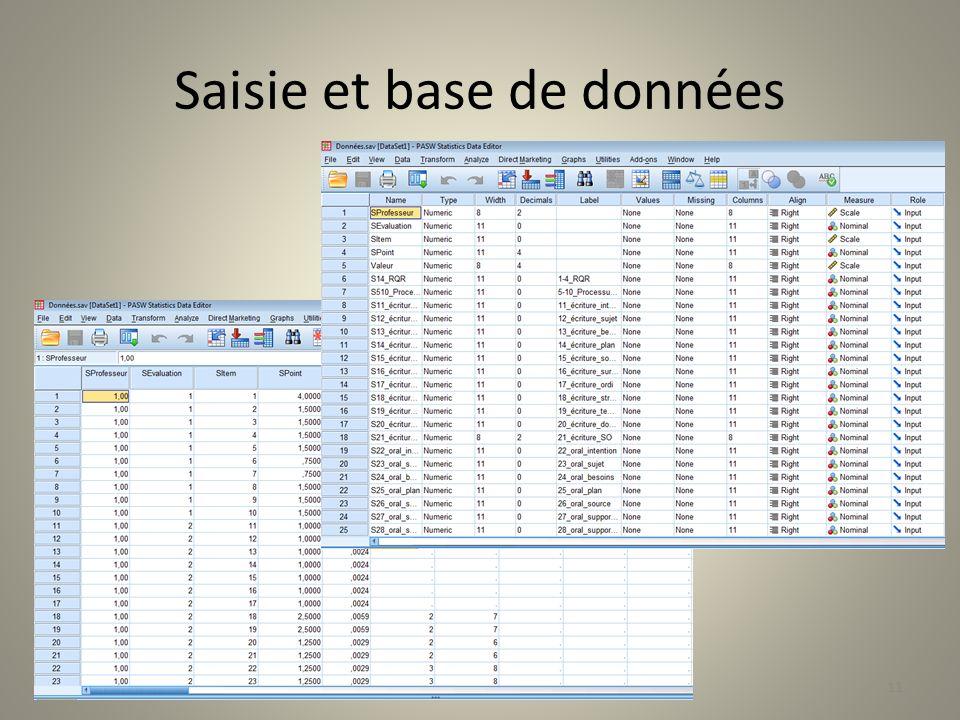 Saisie et base de données