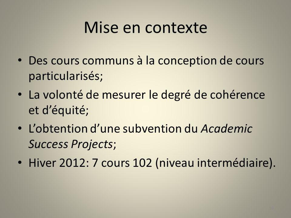 Mise en contexte Des cours communs à la conception de cours particularisés; La volonté de mesurer le degré de cohérence et d'équité;